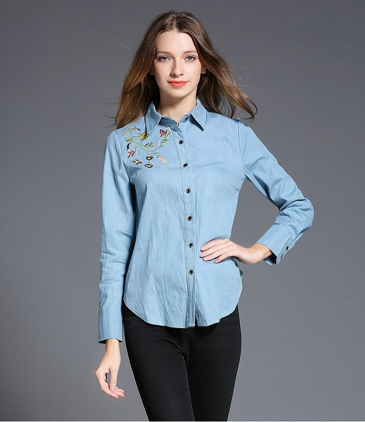 Hight quanlity blue system women skinny embroidery jeans shirt