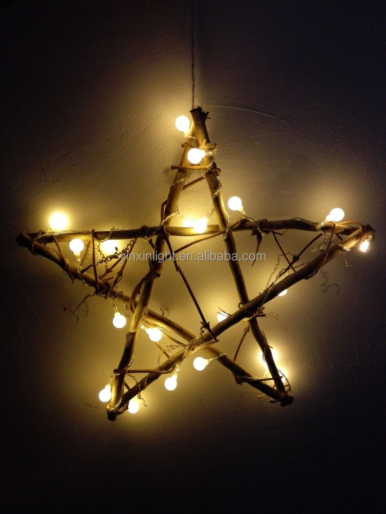factory deal battery wood star decorative light holiday and christmas light