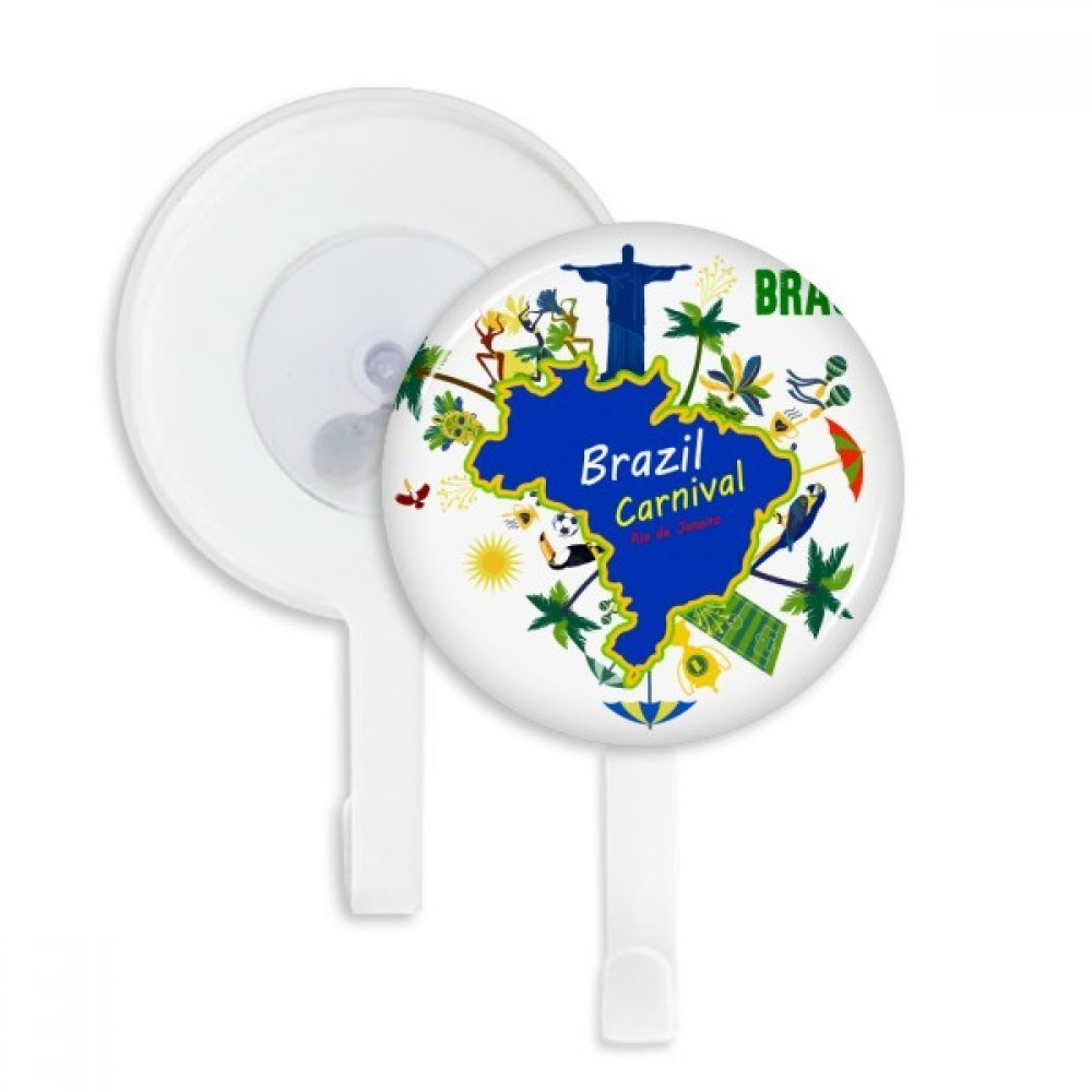 Mount Corcovado Brazil Maps Brazil Carnival Sucker Suction Cup Hooks Plastic Bathroom Kitchen 5pcs Gift