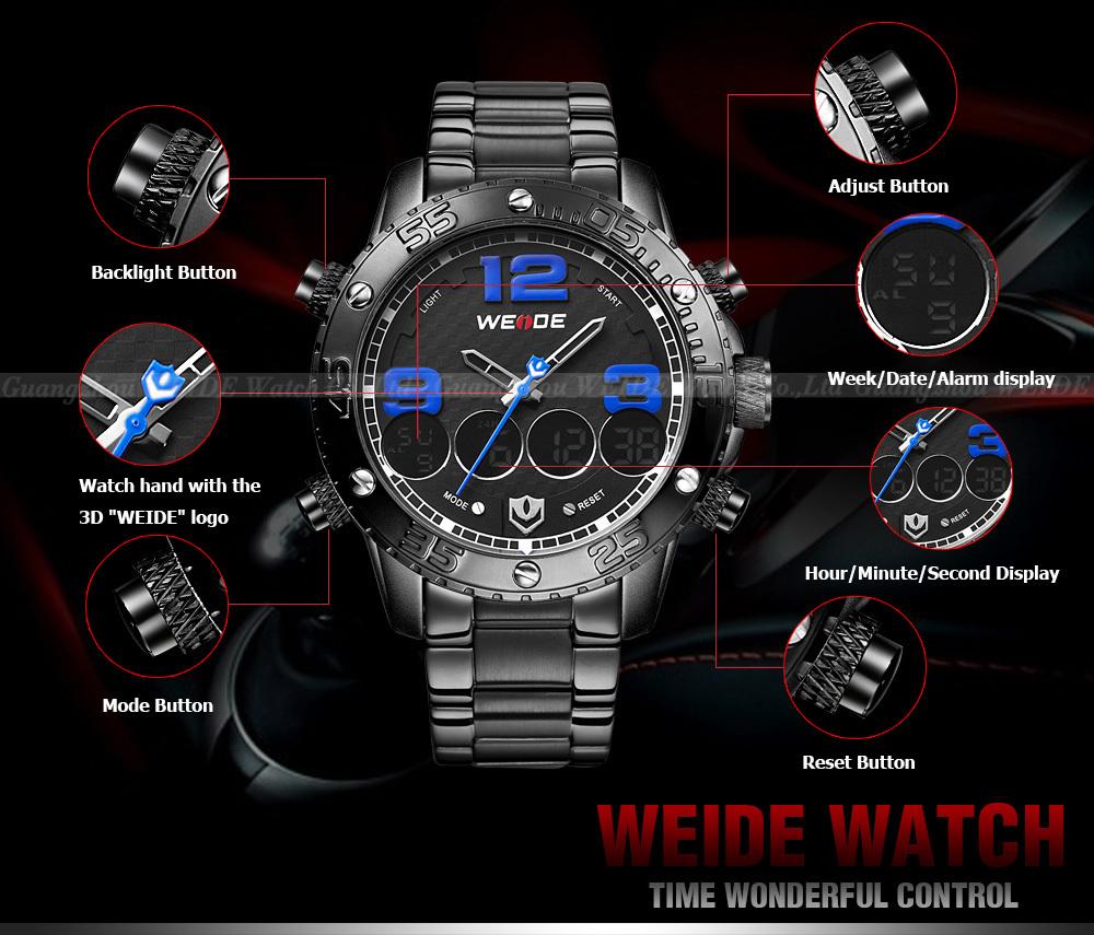 Clock Hands Man Og Digital Wrist Watch Water Resistant Quartz Watches 3 Bar