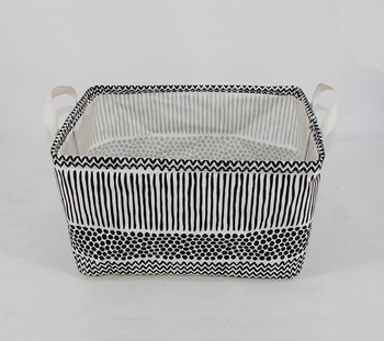 Toys Clothing Foldable Canvas Fabric Storage Cube Black White Basket Grid Decorative Cubes Soft