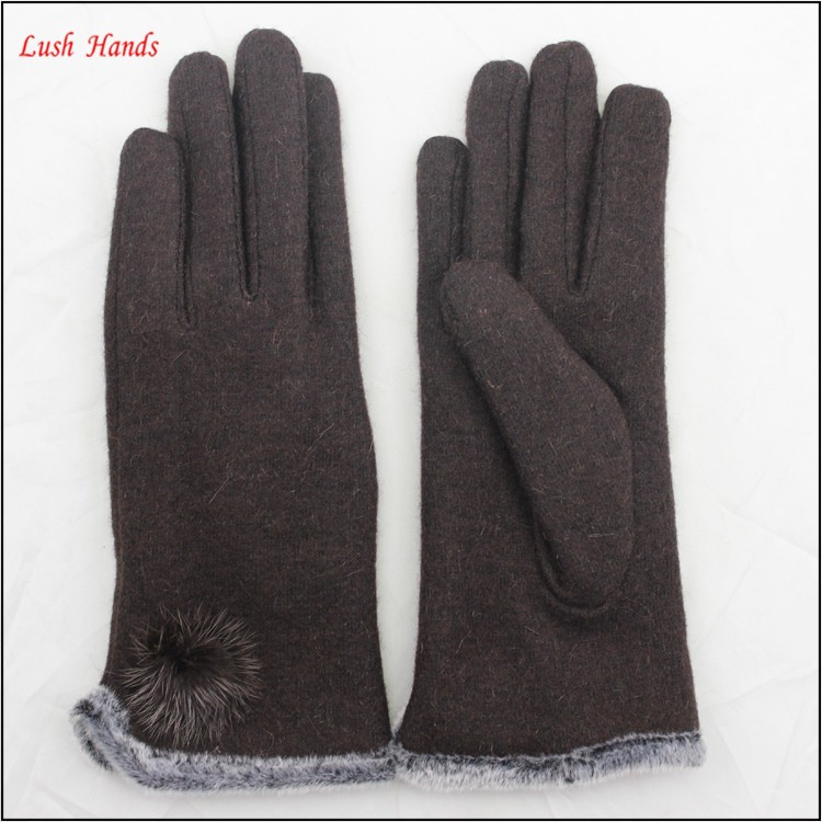women top brown woolen hand gloves spring thin hand gloves