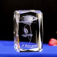 Best Selling 3d Laser Engraved Crystal Glass Cube For Valentines Business Gifts