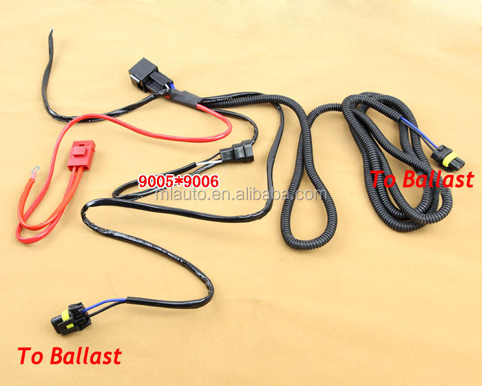 HID headlight harness wire for 9005 9006 cars xenon harness hi/lo relay wire