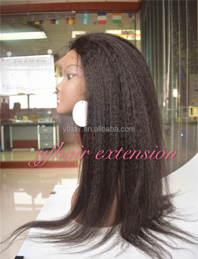 Top quality indian human hair thin skin top lace wig yaki straight 100 percent indian hair full lace wig
