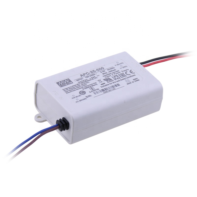 Input 90~264VAC 127~370VDC. Output 35W 15-50V 700mA CC LED PS Mean Well APC-35-700 LED Power Supplies