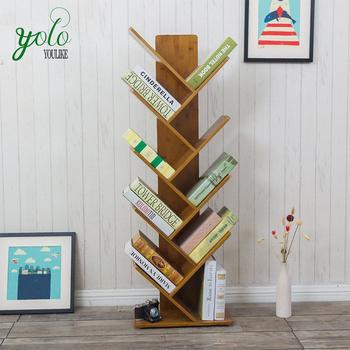 Creative Tree Shape Display Stand Bamboo Bookshelf