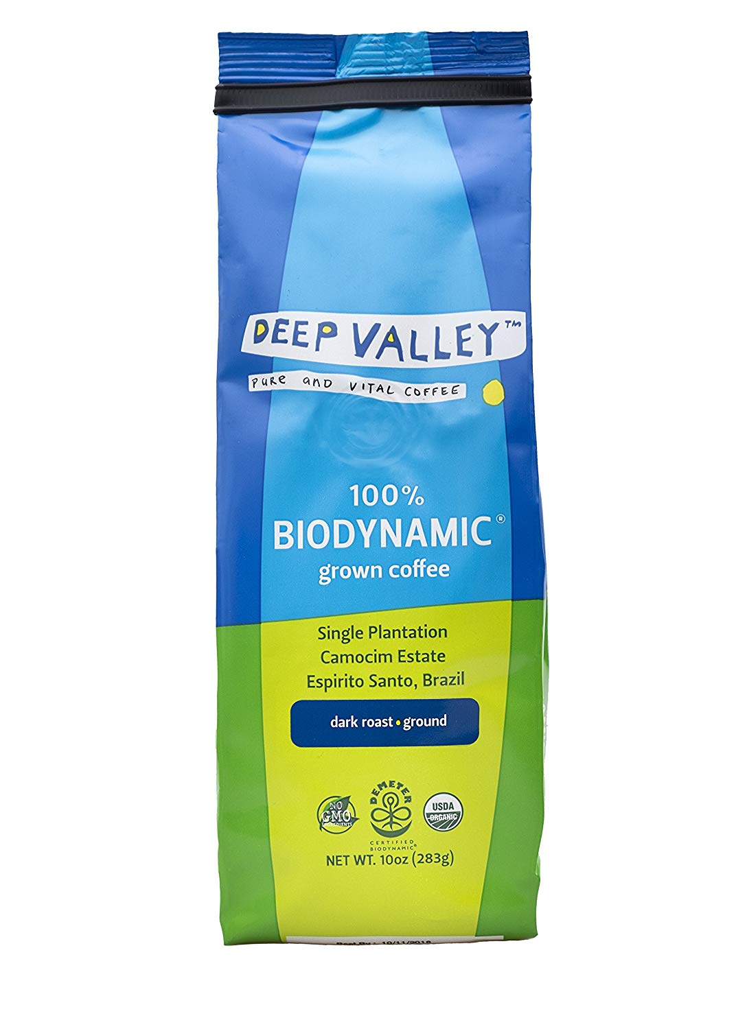 Deep Valley Certified Biodynamic Organic Ground Coffee, Dark Roast, NON-GMO, Sourced from Single Origin Sustainable farm, 10 oz bag