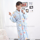 Lovely Printed Micro Fleece Bathrobe,Ladies Fleece Bath Robe,Sleepwear,Nightgown