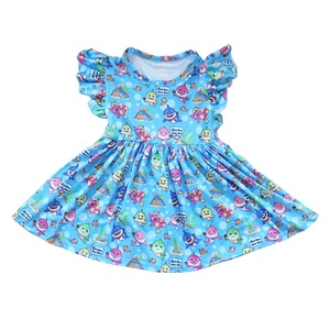 Newborn Infant Kids Baby Girl Cute Clothing Butterfly Sleeve Shark Summer Dress Fashion Party Dresses