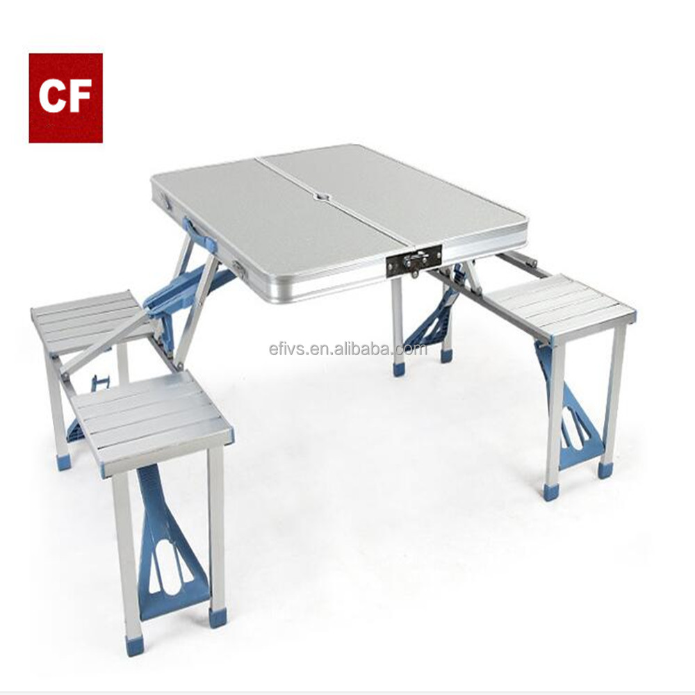 Camping Outdoor Portable Folding Metal Table Chairs Set for BBQ and Picnic