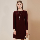 Wool dress slim burgundy winter mid-length graceful ladies knitted dress 2018 chic style long sleeve A-line