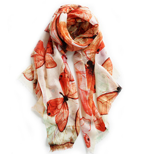 Butterfly Print Floral Wool Scarf Animal Print Wool scarf