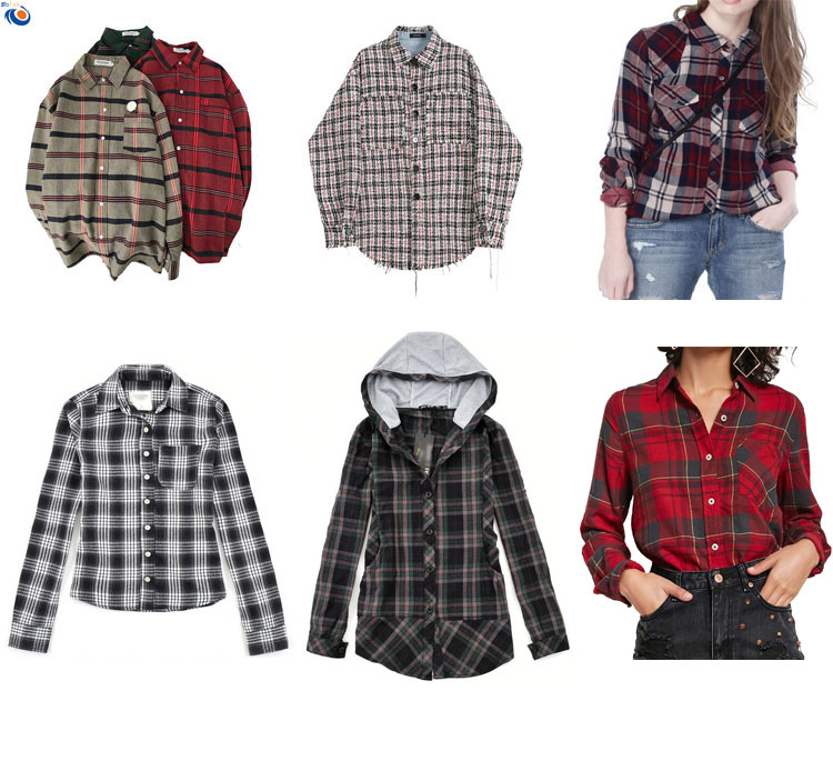 Vrouwen plaid shirt katoen plus size lange stijl flanel katoen check shirts oem