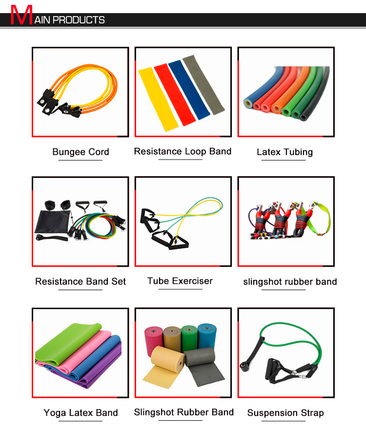 Elastic Sports Fitness Exercise 11 Pcs Latex Resistance Band Set With Handles