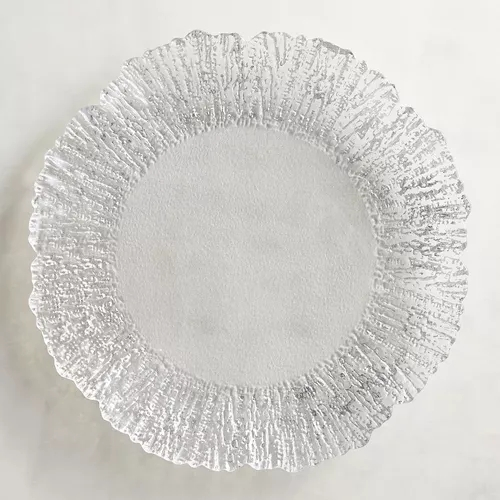 Wholesale New Design Elegant Gold Reef Glass Wedding Charger Plate Set