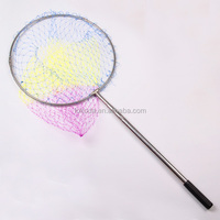 2 in1 Fishing Folding Landing Net & Extending Foldable Pole Micro Mesh Handle Carp Fishing Net