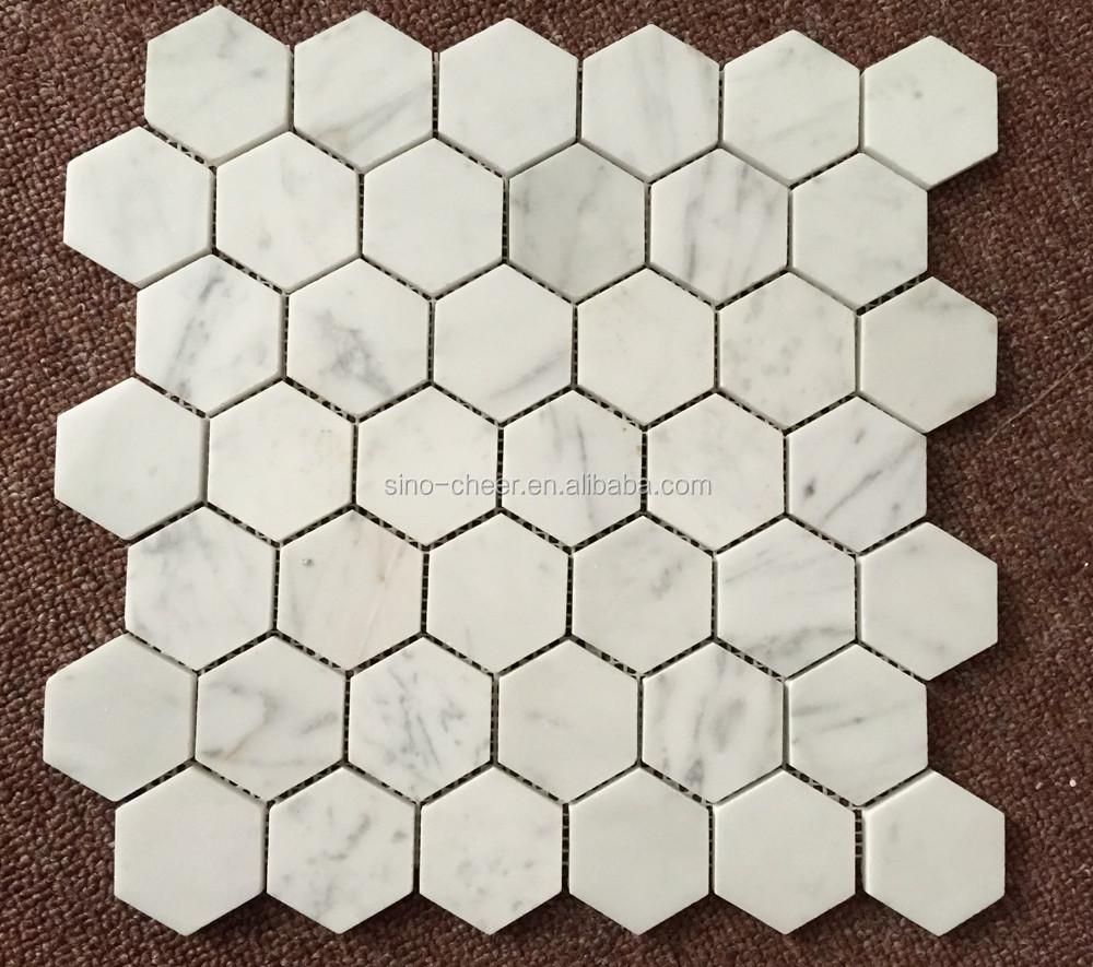 Bianco Carrara White Marble Hexagon Marble Mosaic Tile For Bathroom