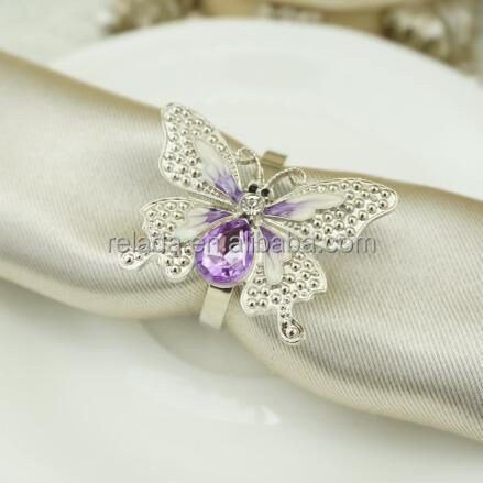 High quality silver plated butterfly jewelry brooch napkin ring engraved with sparkling diamond