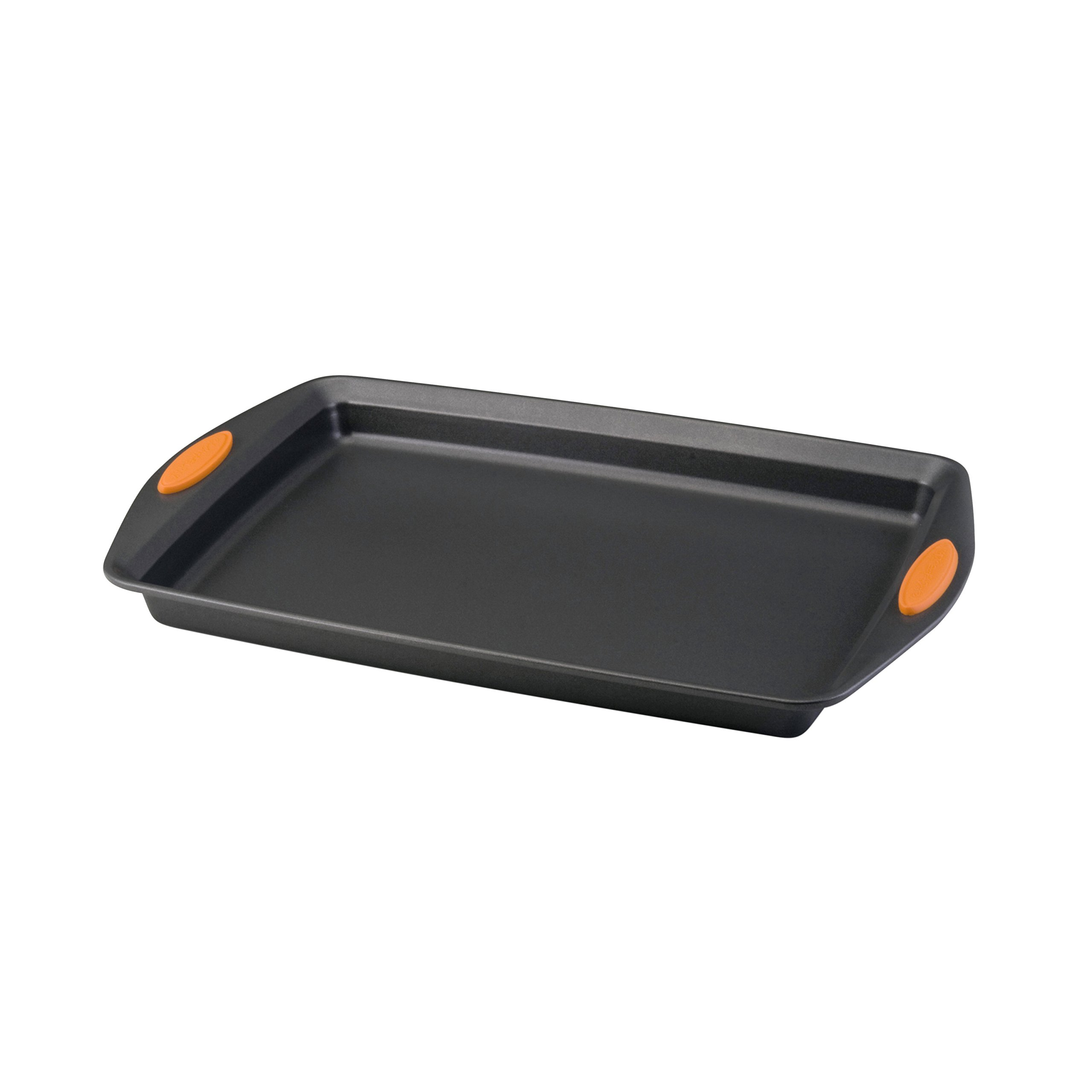 Rachael Ray Yum-o! Nonstick Bakeware 11-Inch by 17-Inch Oven Lovin' Crispy Sheet Cookie Pan, Gray with Orange Handles