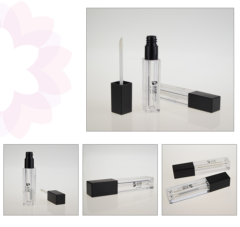 high grade square clear lip gloss container tube with brush