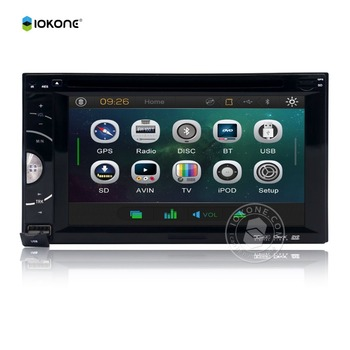IOKONE Wince Universal  Rear View Mirror Double Din Car Radio DVD GPS Navigation System Stereo Music Video Player