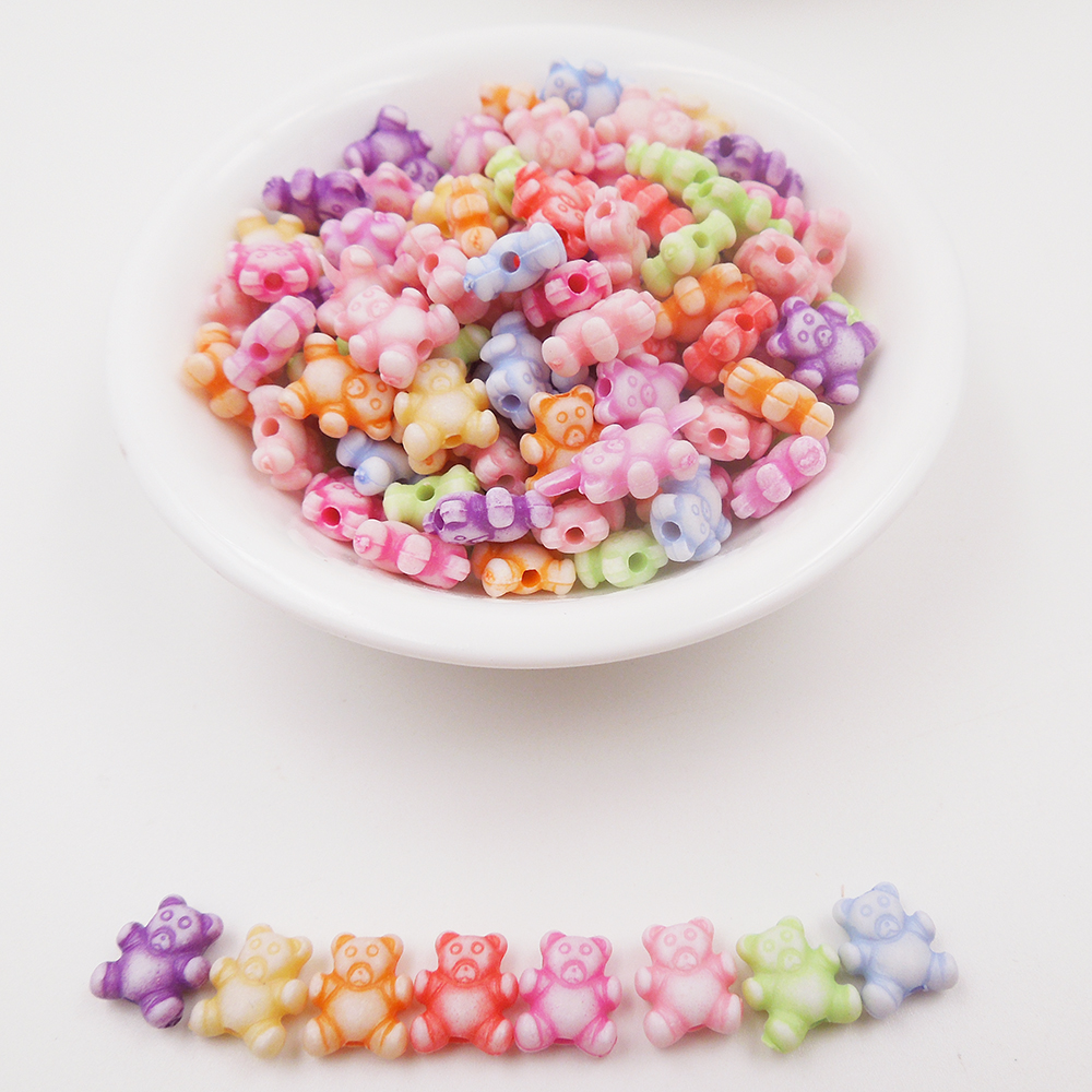 Mixed colors 9mm animal bear acrylic cute beads