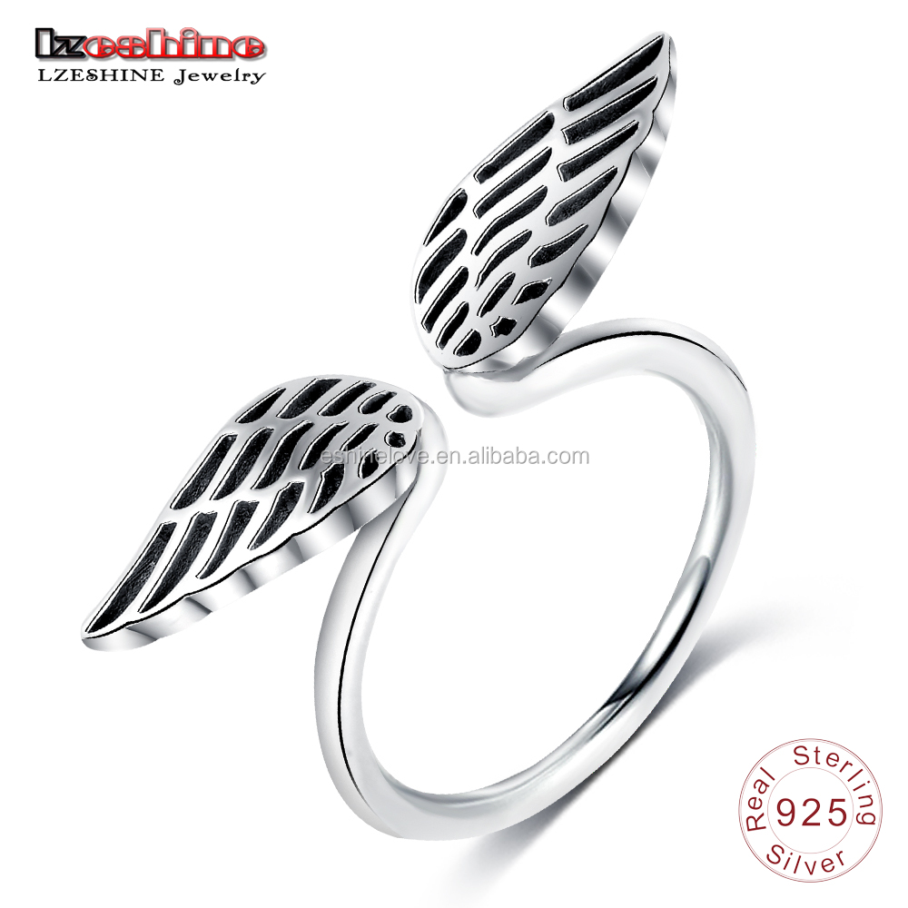 LZESHINE Fashion jewelry 925 sterling silver simple open angel wings ring angel wings ring design finger ring PSRI0098-B