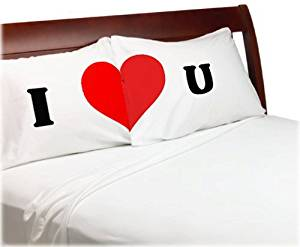 I Love You Pillow Case Set Pillowcases for Lovers, Wedding, Anniversary, Engagement, Romantic Gift Idea for Him or Her - Bedroom Romantic Heart.