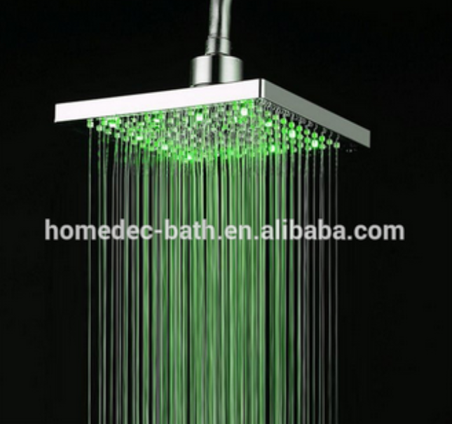 Water temperature control LED changing shower square rainfall shower head with 3 color