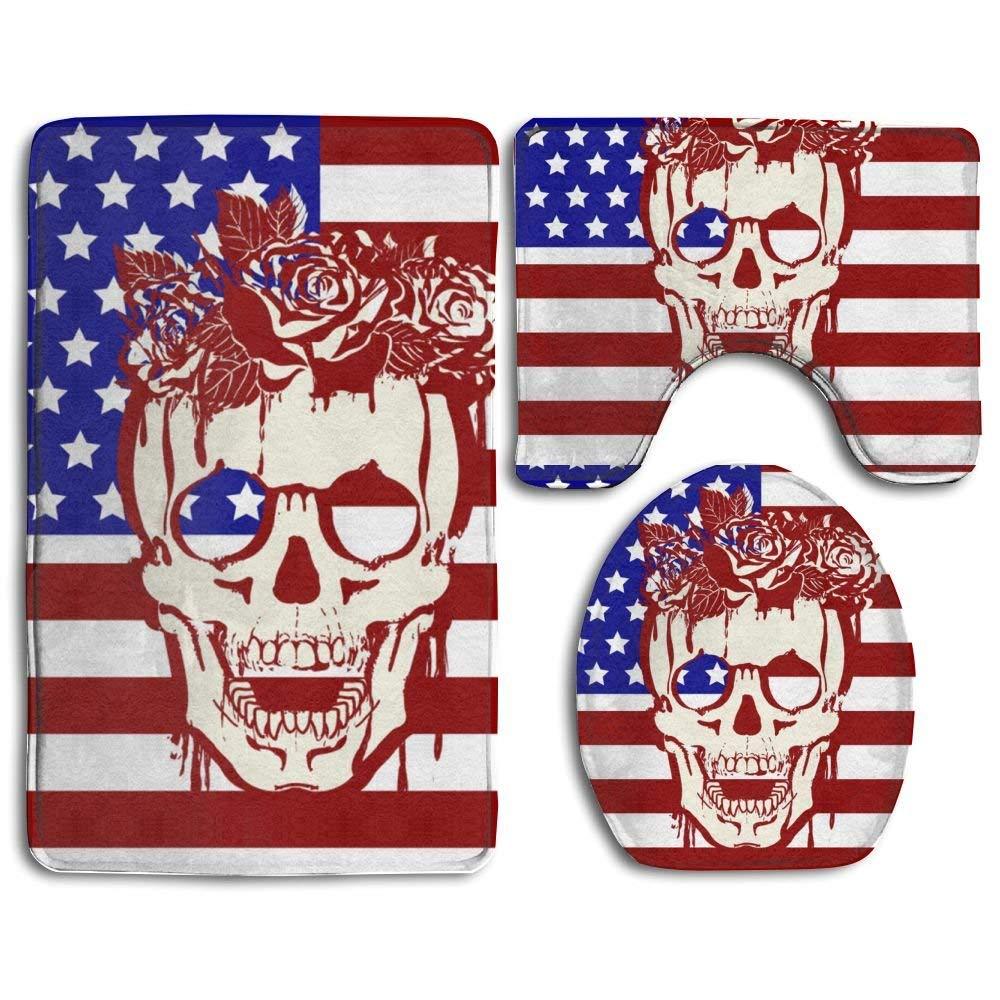 XTingIy American Flag Skull Rose Family Flannel Non-Slip Bathroom Rug Mats Set 3 Piece Good Water Absorption