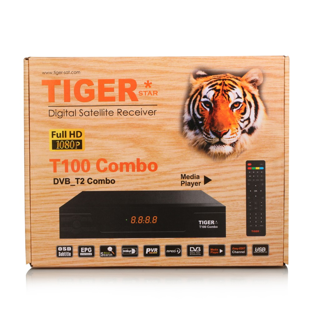 Set top box Tiger T100 combo digital tv satellite receiver dvb-t2