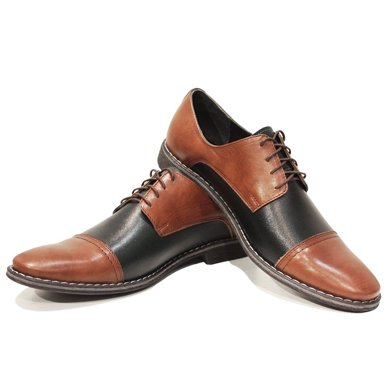 Modello Kano - Handmade Italian Mens Brown Oxfords Dress Shoes - Cowhide Smooth Leather - Lace-up