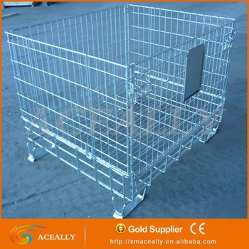 Wire Cage Metal Bin Storage Container Collapsible Metal Wire Mesh Container