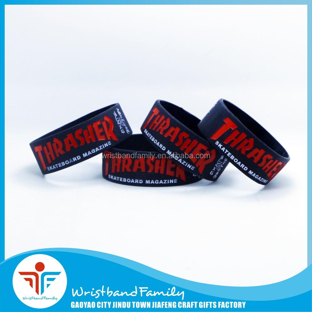 Thrasher Wrist Band Custom Cheap Silicone Wristbands Rubber Bracelet