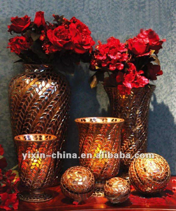 Stunning Beautiful Brown Mosaic Flower Vase & Candle Holder Set For Home Decoration