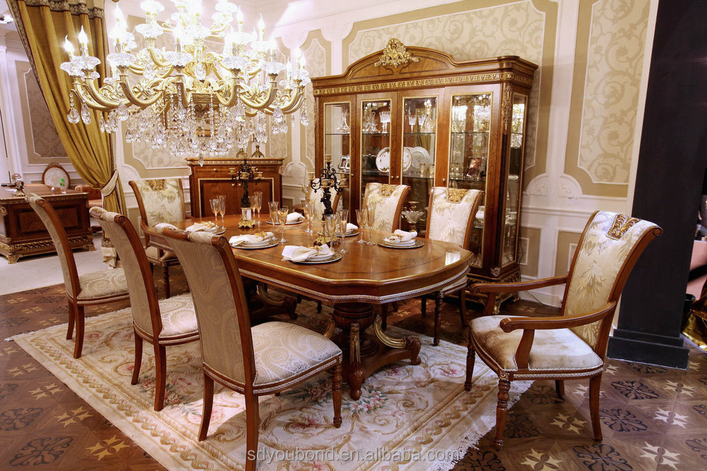 0062 luxury royal classic italian dining room sets buy for Classic dining tables and chairs