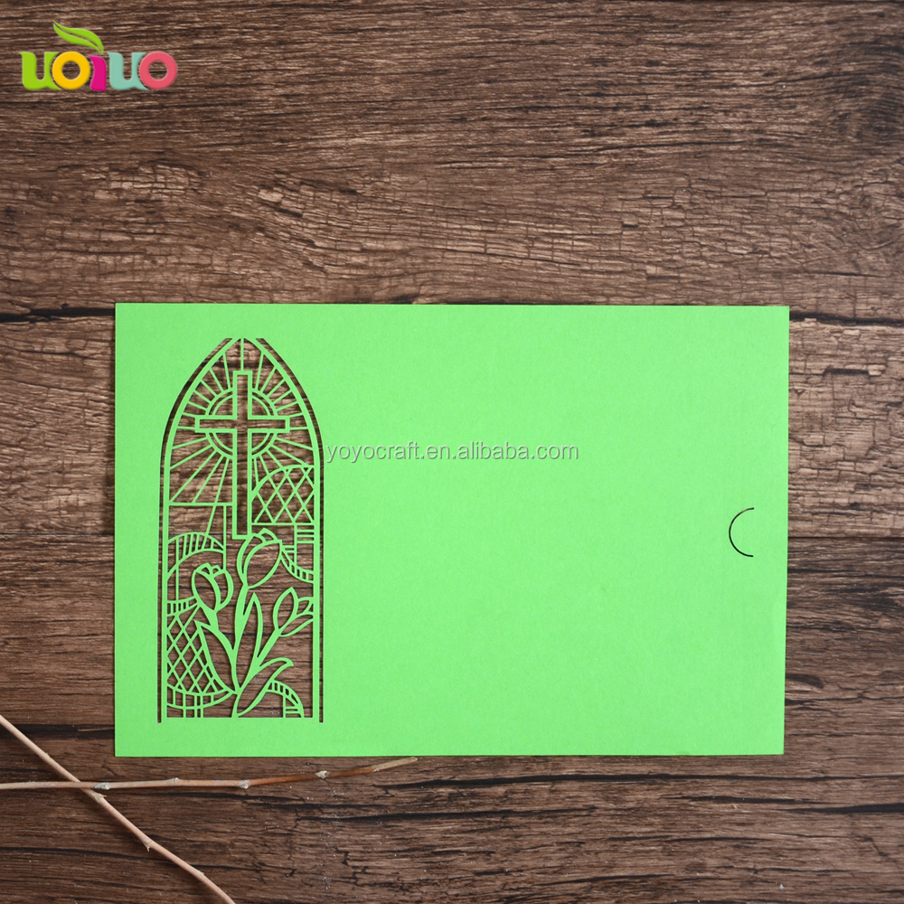 Unique laser cut red paper lace supplies cross puberty ceremony invitation cards
