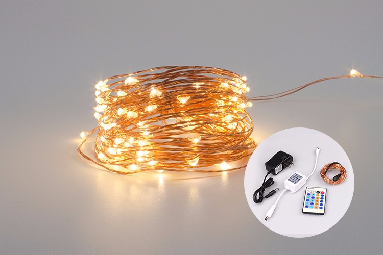 2017 LED String Lights 10M 100 LEDs IR Remote Controller 33ft LED Copper Wire Fairy Lights for Decorating