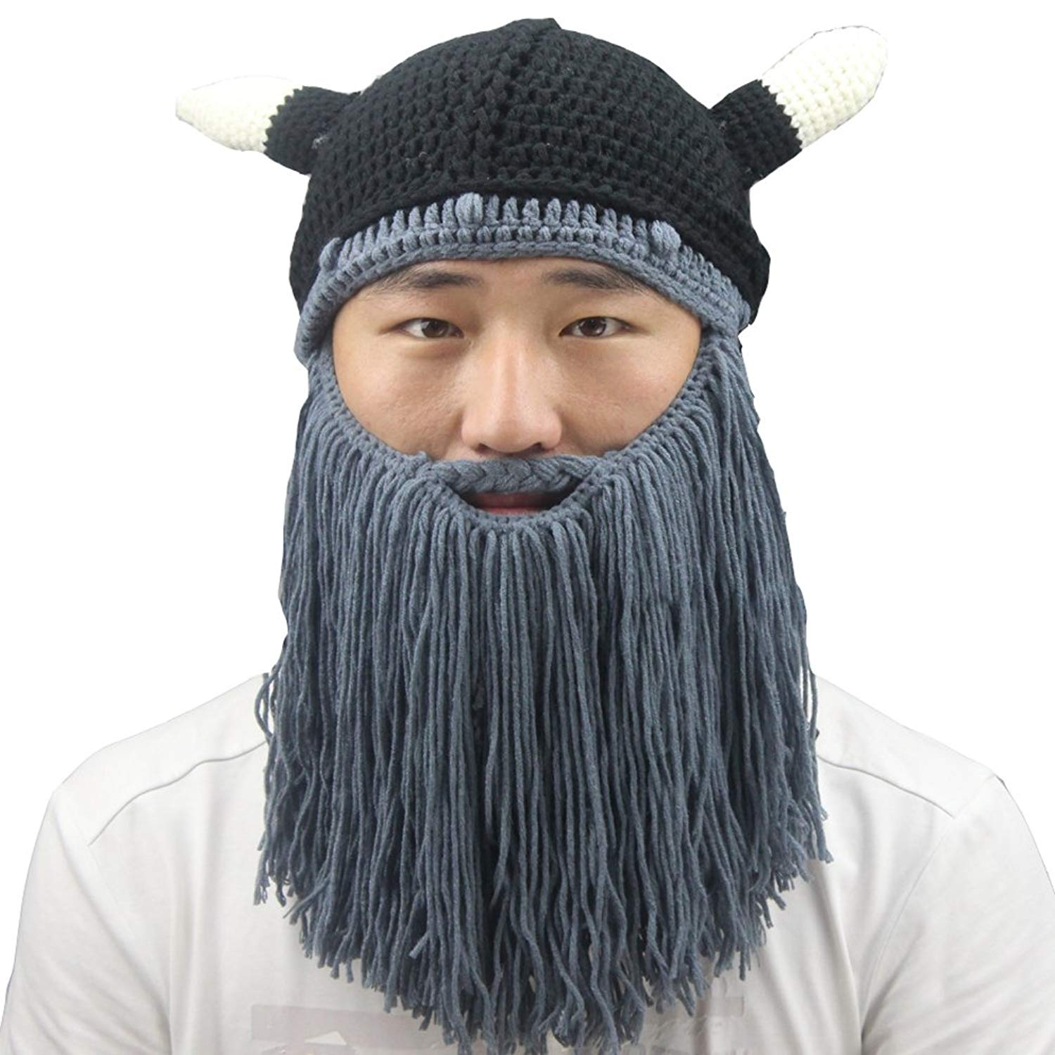 Get Quotations · Men s Cotton Winter Knit Ski Beard Mustache Beanies Hat  Cap Face Mask With Horns c97058cf4f6