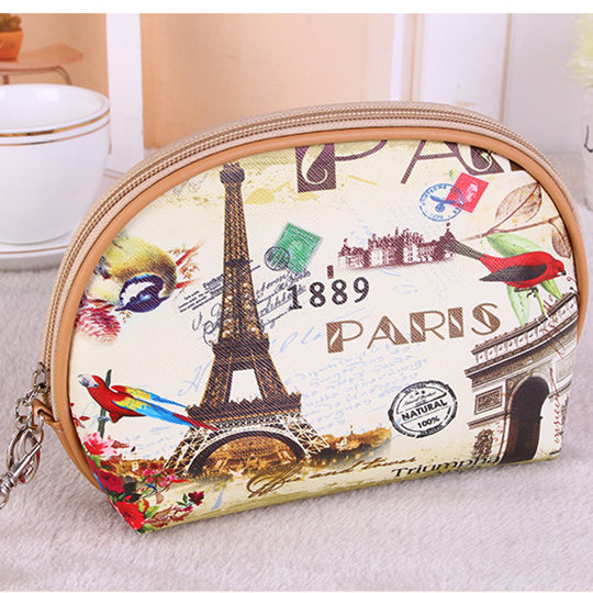 Digital print PU leather France city style cosmetic bag