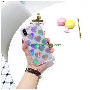 Fashion Chrome Laser Silver Love Hearts clear soft tpu phone case for iPhone X