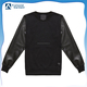 2015 Custom fashion men's leather sleeve sweatshirts