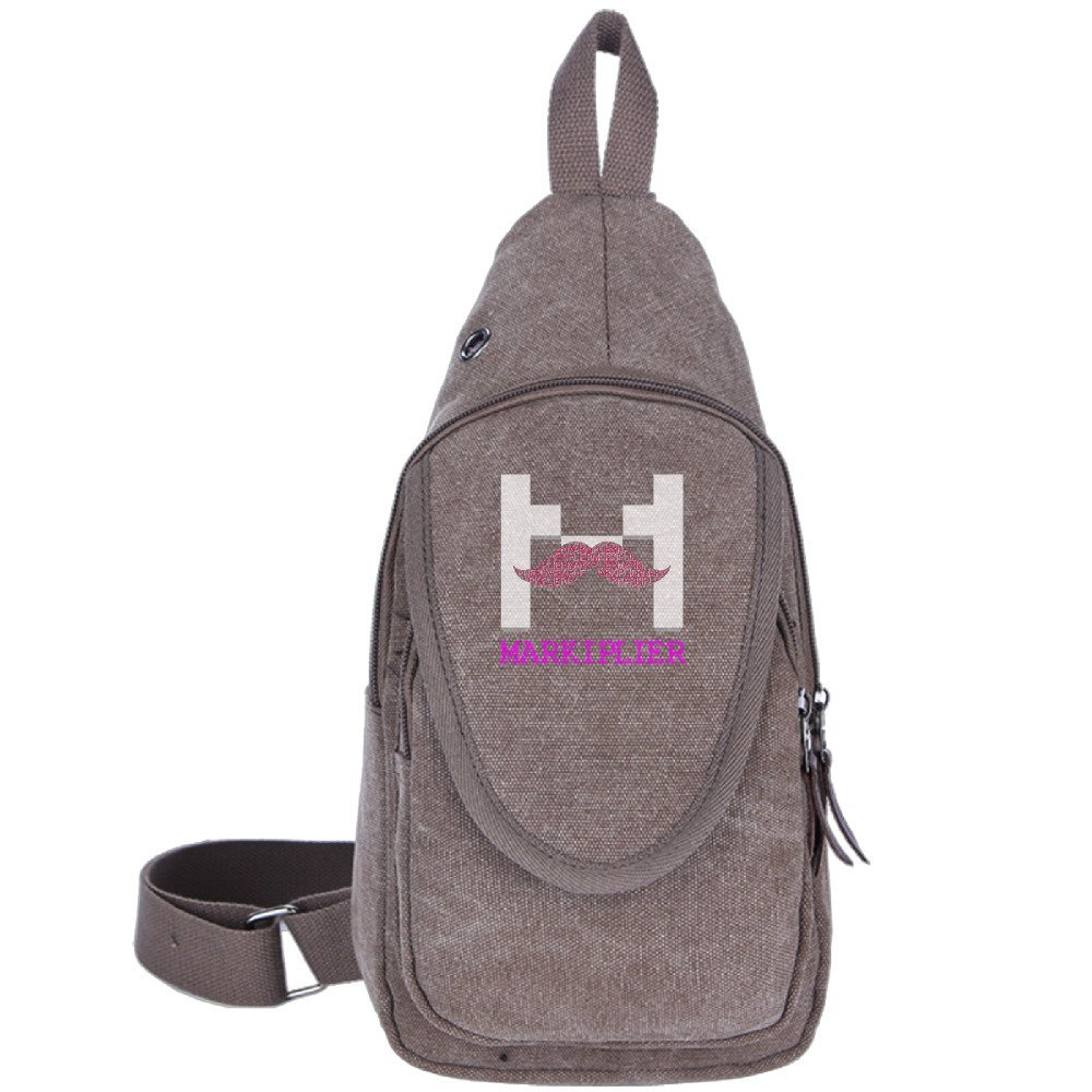 Markiplier Warfstache Logo Canvas Chest Pack Crossbody Bag Travel Bag Hiking Bag Shoulder Backpack Black