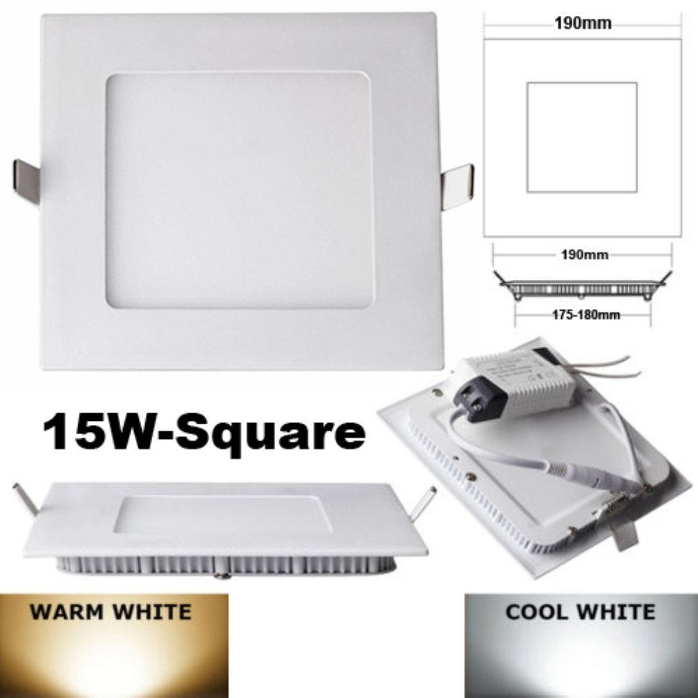 4x Square LED Recessed Light Panel Lamp Ceiling Lights with LED Driver 15W day white AC100-260V