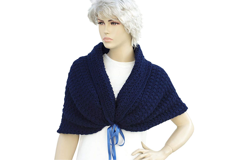 5e1d5e59c Get Quotations · Navy Shawl, Navy crochet shawl, cowl shawl, Bridal gift,  shawl, shrug