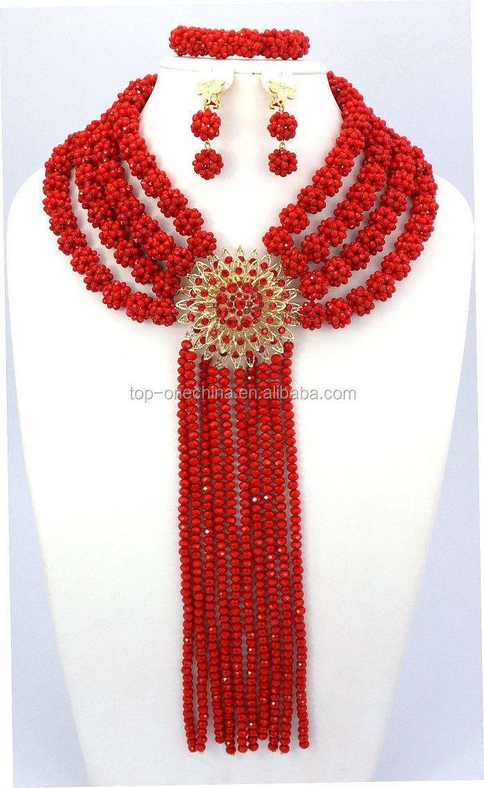 Fashion Nigerian Beads Necklaces Bracelet Earrings African Beads ...