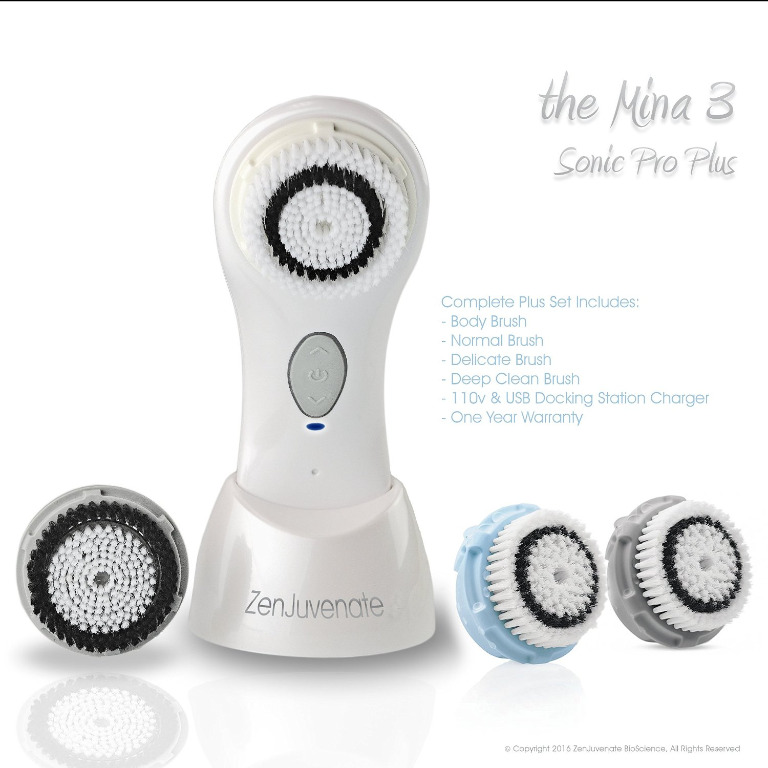 Mina 3 PLUS Sonic Skin Cleansing Brush System, Micro Dermabrasion 1 Year Warranty, Power Electric Rechargeable Facial Brush Facial Cleaning System by Zenjuvenate