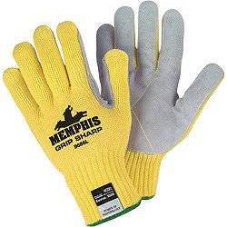 Memphis Glove X-Large Yellow Grip Sharp 7 gauge Leather High Comfort Level Cut Resistant Gloves With Knit Wrist, Cotton Lined, Leather Coating And Kevlar Brand Fiber Shell - 1 PR