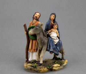 Resin Holy Family Figurines Flight into Egypt on Donkey Statue